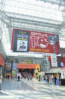 Gigantic banners featured books with high expectations, including Go Set a Watchman by Harper Lee, Witches by Stacy Schiff, and The Magic Strings of Frankie Presto by Mitch Albom