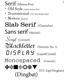 Several examples of typefaces