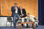 Dave Barry talks about writing humor for children with Alan Zweibel (black jacket) and Adam Mansbach (short sleeves). Mansbach is the author of Go the Fuck to Sleep, and has co-written with Zweibel Benjamin Franklin: Huge Pain in My...